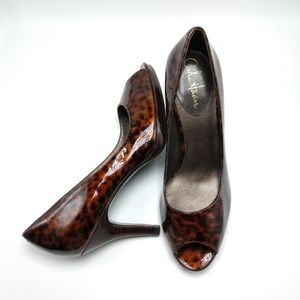 Cole Haan Nike Air Patent Leather Peep Toe Pumps
